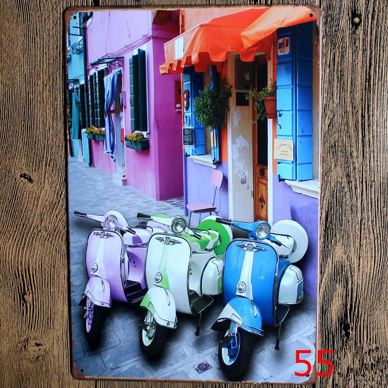 Three Colorful Motorcycle Vintage Home Decor Metal Paintings Bar Shop Garage Painting 20 30 Vintage