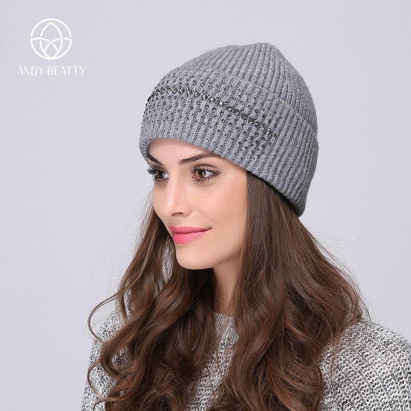 Andybeatty High Quality Wool Cashmere Winter Hats For Women Warm Women'S Brand Casual Knitted Vogue Hat Female Skullies Beanies fibonacci winter hat knitted wool beanies skullies casual outdoor ski caps high quality thick solid warm hats for women
