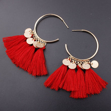 New Boho Tassel Earrings for Women Red Green Colorful Fringed Statement Earring Party Long Drop Earings Fashion Jewelry