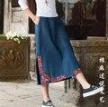 2016 Весной новый национальный ветер вышитые джинсовые юбки