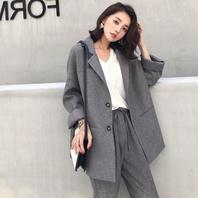 Suit Female 2019 Autumn New Temperament Casual Loose Long Suit Jacket Trousers Solid Color Elegant Fashion Two-Piece Set
