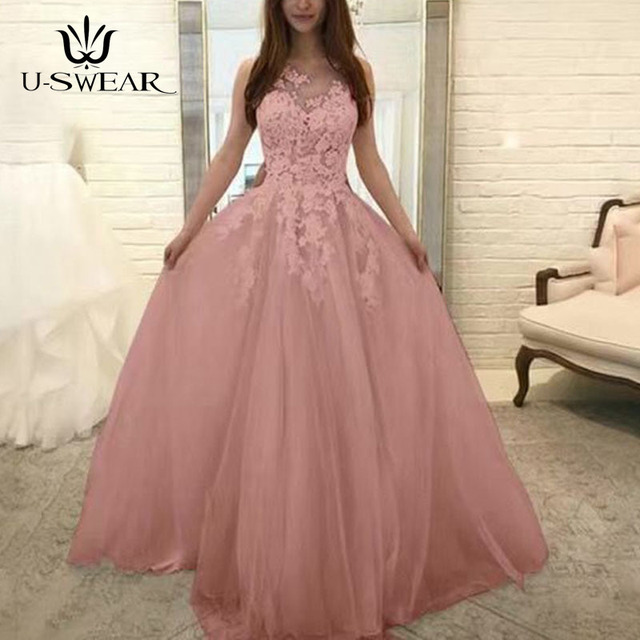U-SWEAR Evening Dress 2019 O-Neck Sleeveless Lace Applique Evening Party Prom Formal Gowns Long Dresses Vestidos Robe De Soiree 3