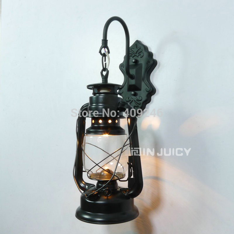 Industrial Fashion Vintage Personalized Kerosene Light LED Wall Lamp Lantern Iron Black Copper Bronze