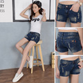 2016 Summer casual Shorts Womans Vintage Club Denim Shorts Sexy Hip Hop Skull Patch mini shorts sexy Plus Size Ripped Shorts