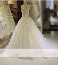 Vestido de novia 2017 Vintage luxurious Beading Wedding Dress Lace Bridal Gown