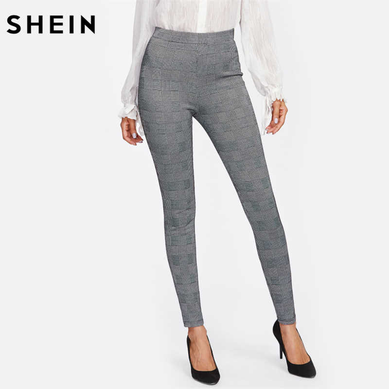 SHEIN брюки с высокой талией осенние элегантные брюки женские серые клетчатые эластичные брюки женский эластичный пояс обтягивающие брюки