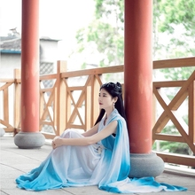 9b2031a52 2019 new pure white chiffon fairy costume hanfu for photography or stage  performance peach blossom fairy