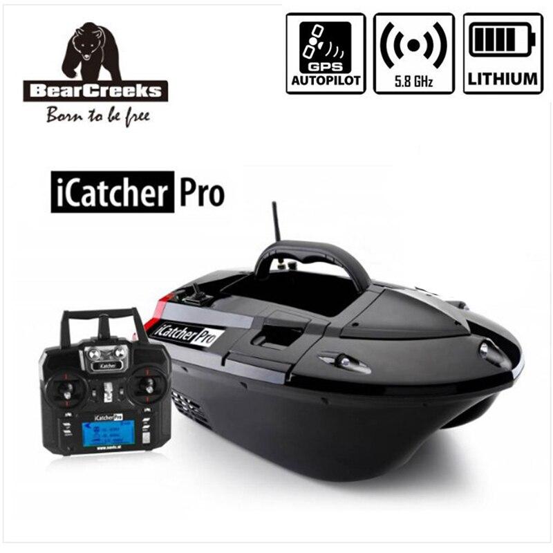 GPS Pilote Automatique BearCreeks iCatcher V3 Carpe Appâts de pêche Bateau avec batterie Au Lithium et en option BC151 Couleur Sondeur Explosion Crochet