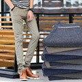 5 colores de la marca americana oficina de lino del algodón pantalones para hombre pantalones lápiz Slim Fit moda negocios Formal Elasitc pantalones casuales