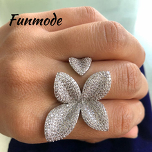 цена на Funmod Fashion Unique Design Leaf Shape Rings AAA CZ Pave Elegant Adjustable Ring for Women Party Accessories Anillos MujerF003R
