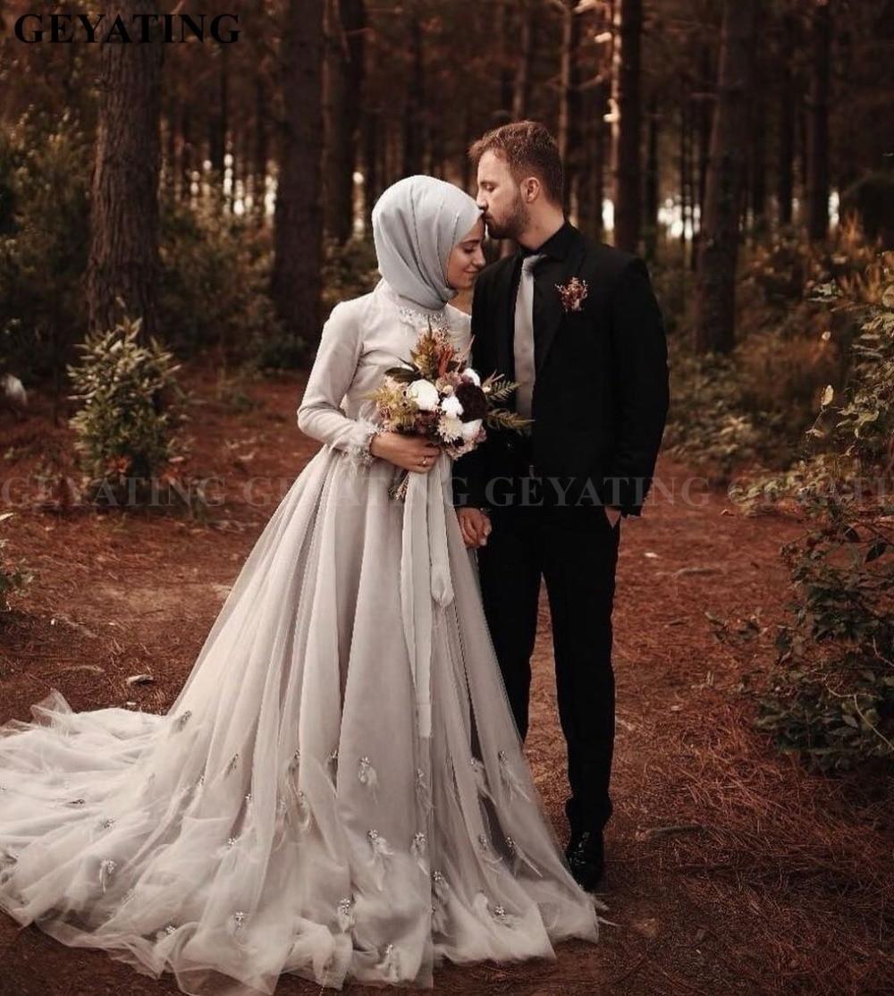 Saudi Arabic Dubai Kaftan Muslim Wedding Dress Long Sleeve Hijab High Neck Feather Crystal Court Train Gothic Black Wedding Gown Wedding Dresses Aliexpress