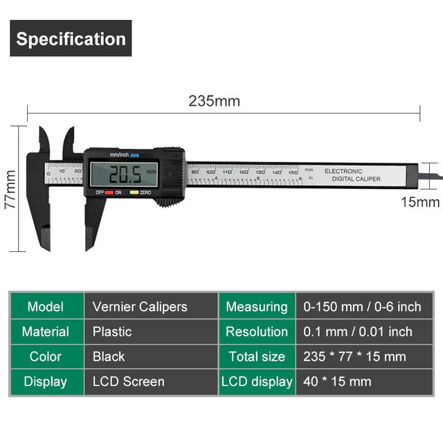 Electronic Carbon Fiber Vernier Caliper Micrometer Measurement Tool6inch /150mm LCD Digital