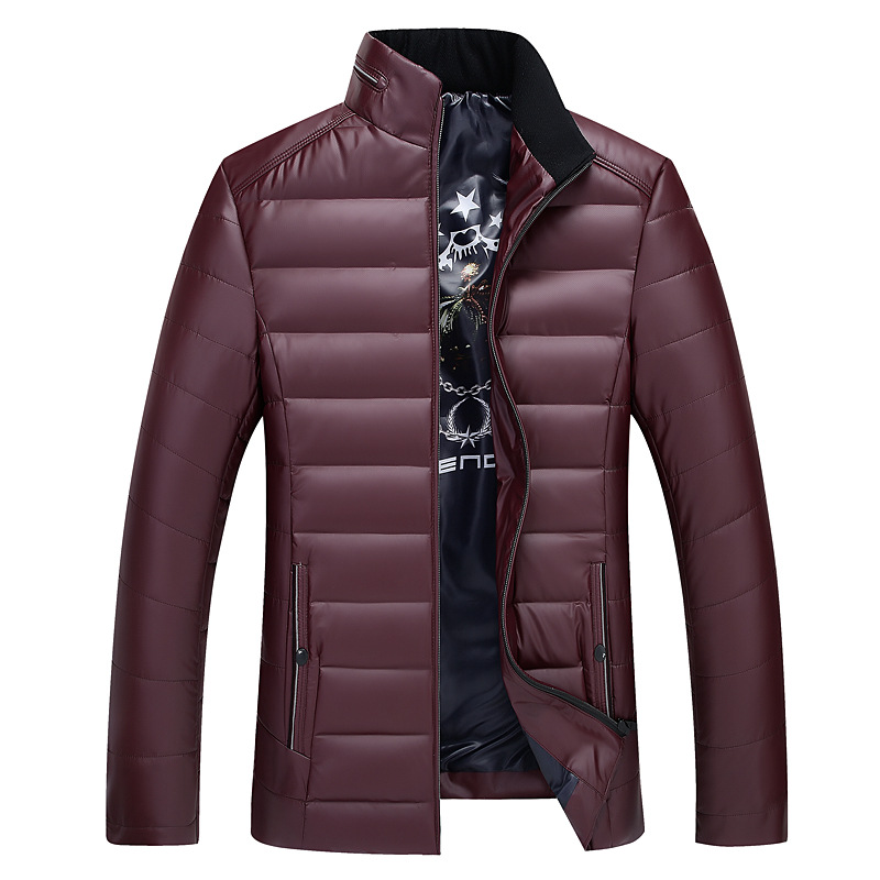 Solid color down coat men stand collar thick white duck down coats outerwear plus size 2018 autumn winter