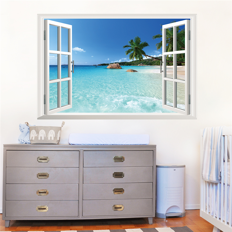 kokospalme ozean strand 3d gefälschte fenster wandaufkleber wohnzimmer dekoration diy abziehbilder meer landschaft wandbild kunst poster