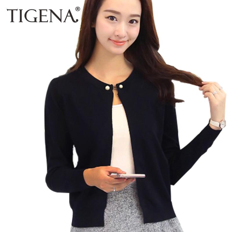 TIGENA 2018 Spring Autumn Knitted Sweater Cardigan Women Long Sleeve Cardigan Female Single Button Black Pink White Blue Yellow