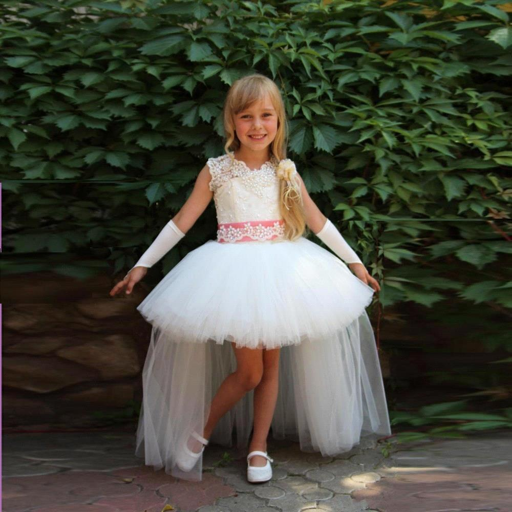 2019 New Design Short Front Long Back   Girls     Flower     Girl     Dresses   Cute White Tulle Lace   Flower     Girl     Dress   vestidos comunion ninas