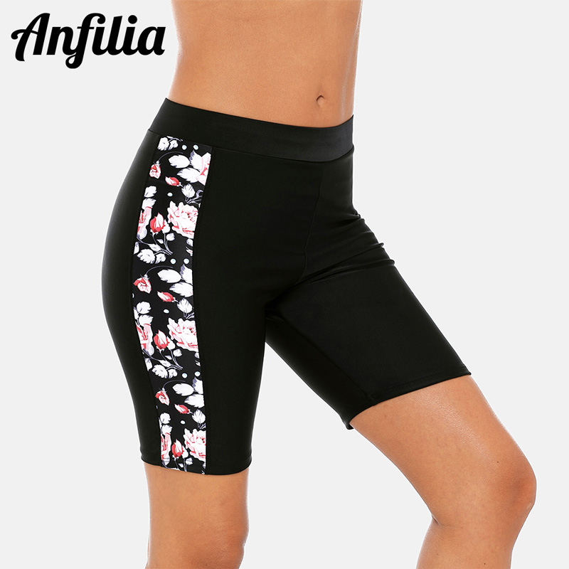Anfilia Women Sport Swimming Trunks Ladies Capris Pants Bikini Bottom Swimwear Briefs Slim Printed Tankini Swimming Trunks
