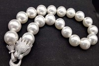 20mm white shell round and leopard clasp necklace FPPJ big size wholesale beads nature