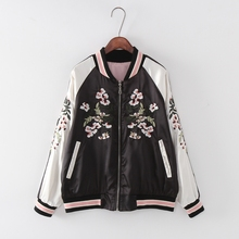 Fashion Reversible Coat Embroidery Flower Phoenix Bird 2016 Women Bomber Jacket Coat Pilots Outerwear Jacket On Both Sides