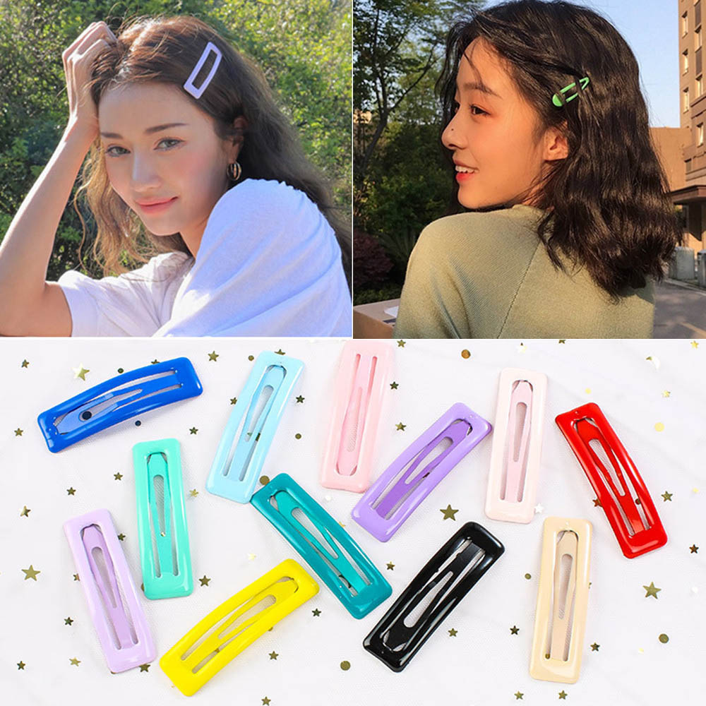 Cute Glitter Hairpins Snap Hair Clip For Girls Hair Pins Unique Women's Gift BB Hair Clip Candy Color Hair Accessories Dropship