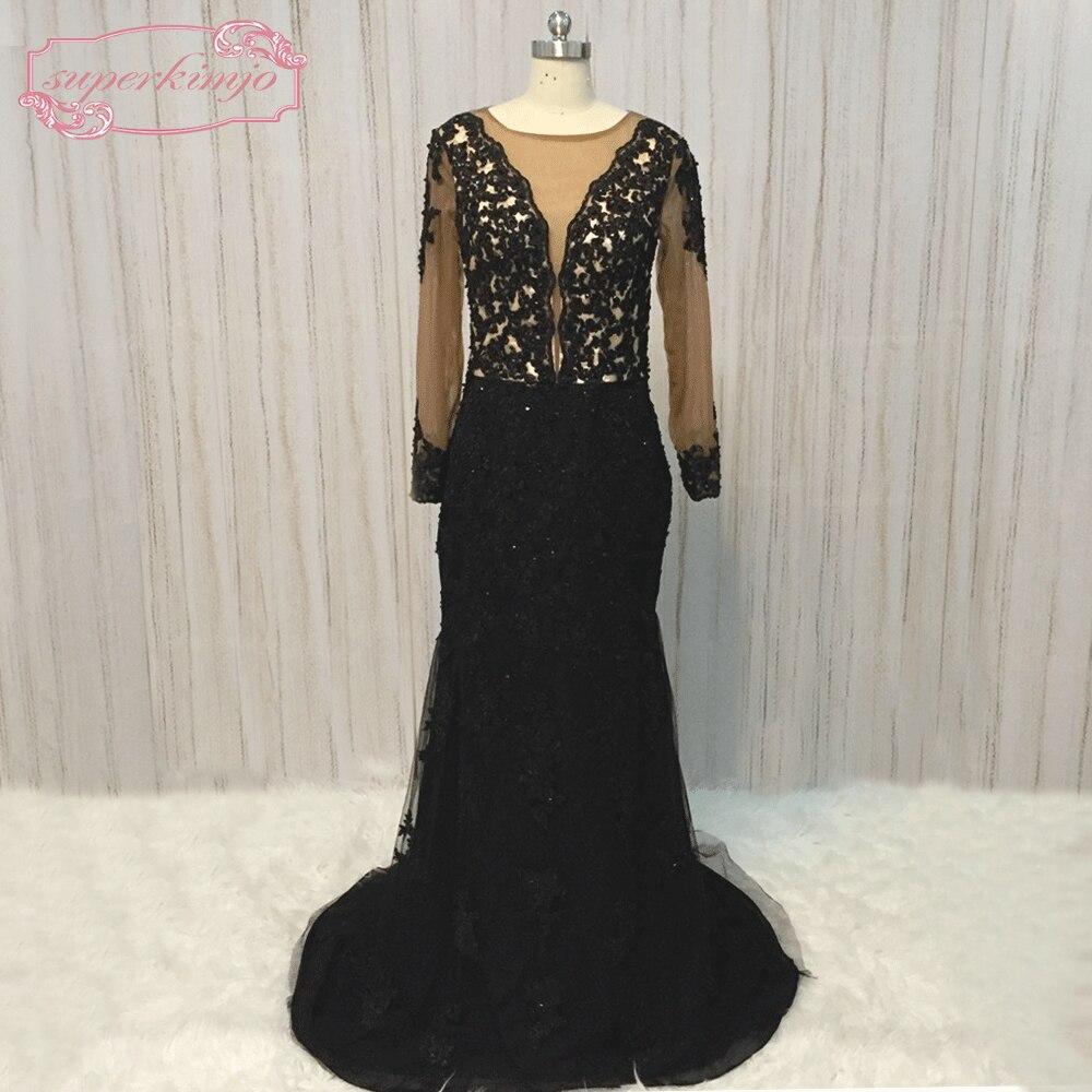 Elegante Schwarze Formale Abendkleider Mit Spitze Appliques Tulle Open Back Mermaid Frauen Prom Lange Kleid Lx463 Weddings & Events