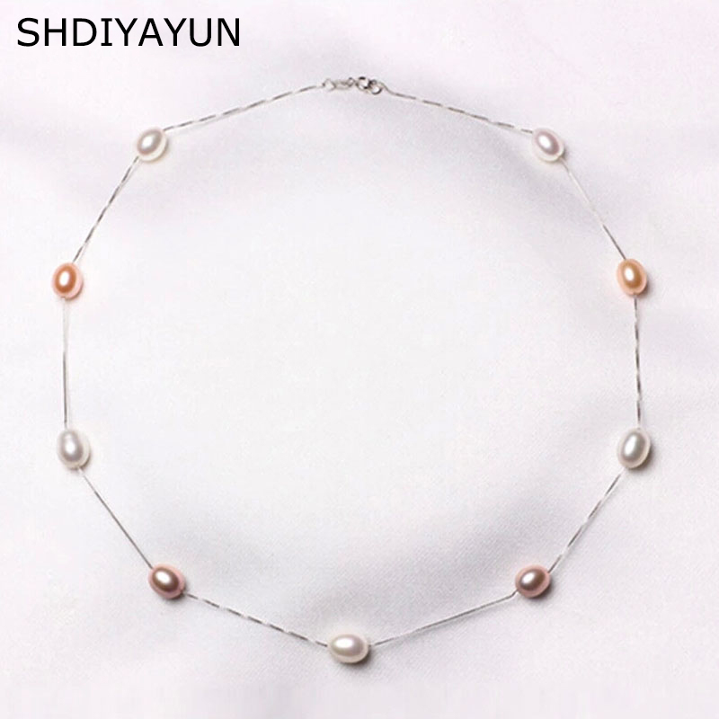SHDIYAYUN Fine Pearl Necklace 925 Sterling Silver Pearl Jewelry Natural Freshwater Pearl Choker Pendants Jewelry For Women Gift