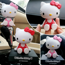 Car ornaments cute cartoon cat head shaking cradles dashboard accessori