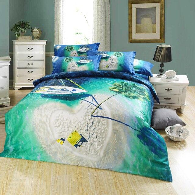 Perfect 3D Green Lake Heart Shaped Island Palm Tree Bedding Set Queen Size Duvet  Cover Bedlinen