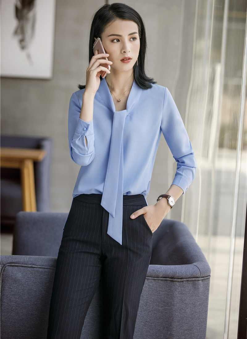 1f4f5341d94 Формальные Деловые костюмы женские брючные костюмы с 2 шт. брюки и Топы  Наборы блузки и