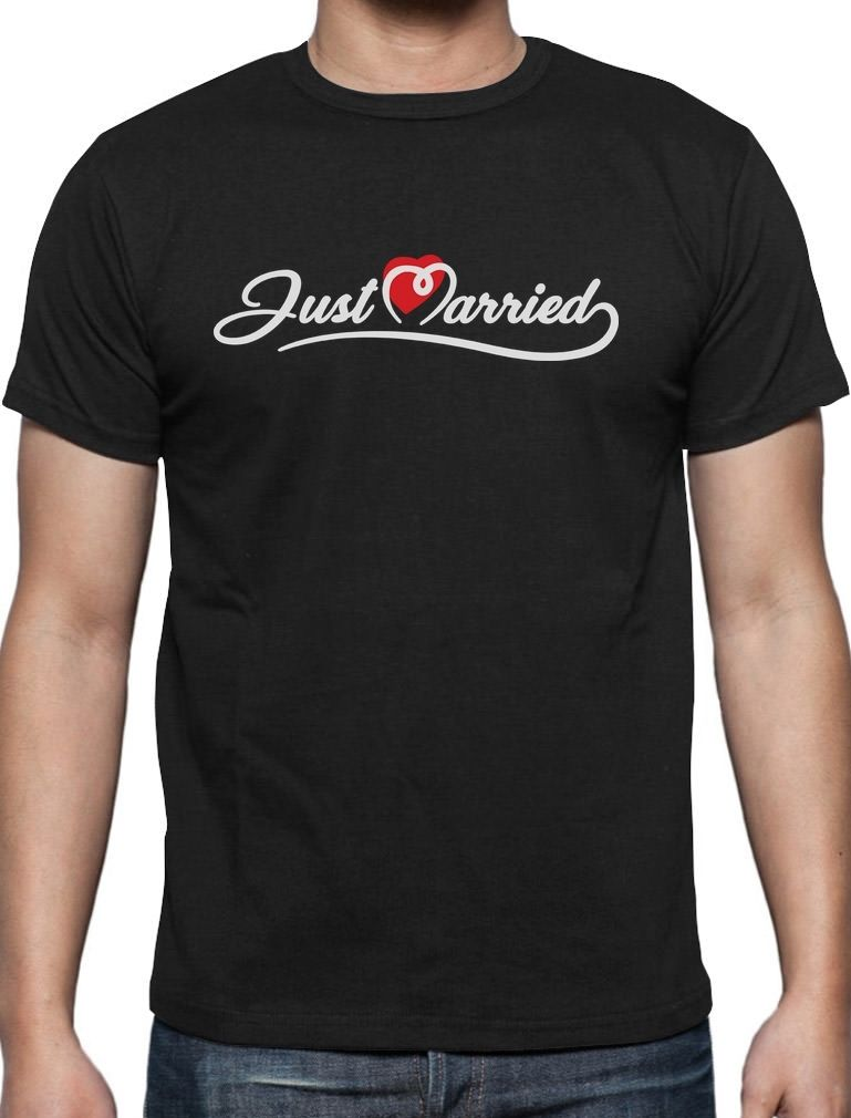 Mens T Shirts Summer Hipster Just Married Gift For Newlywed Couples T Shirt Honeymoon Gifts Men Cool Tees Tops