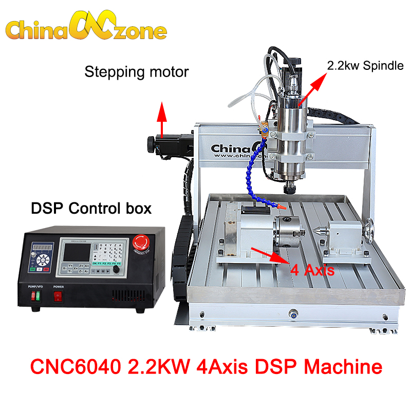 CNC 6040 2.2KW 4 axis CNC Router CNC Wood Carving Machine DSP Control Woodworking Milling Engraver Machine Cooling Control box european quality jinan acctek high quality 4 axis cnc engraver wood router