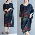 Новый Плюс Размер женская Одежда элегантный свободные цветочным принтом Vestidos Старинные Платья Осень Женщины Хлопок Лен полный Платья женские
