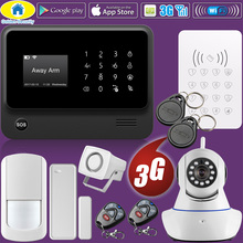 Golden Security WIFI 2G 3G GSM WCDMA Language Switchable Wireless Home Security Alarm System RFID Keyboard IP Camera