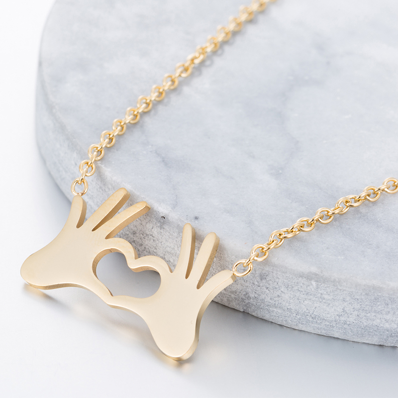 Hfarich Cute Hand Heart Choker Necklace for Women gold Chain Small Love Necklace Pendant on neck Bohemian Beautiful Gifts