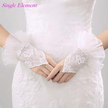 Luxury Bridal Gloves Lace Ruffles Appliques Wedding Wrist Length Ivory Accessory In Stock