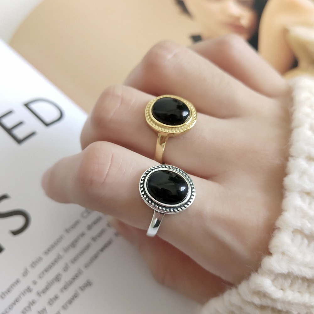 Retro 1pc Authentic S925 Sterling Silver Fine Jewelry gold Oval Black agate Stone Ring Women's J260