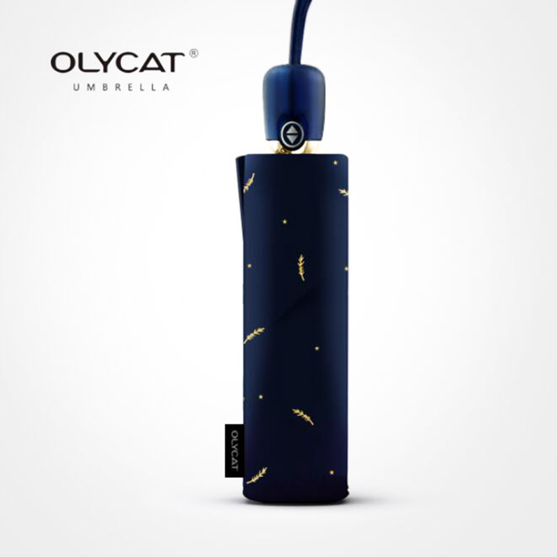 OLYCAT Sun Automatic Umbrella Anti UV Feather Style Folding Umbrella Rain Women Windproof 8K Dark Blue Lace Umbrellas Girls Gift