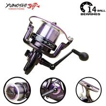 Yumoshi 14BB Feeder Carp Fishing Reel Aluminum alloy Metal Fishing Reels Spinning Wheel Carretilha de pesca molinete Shimano