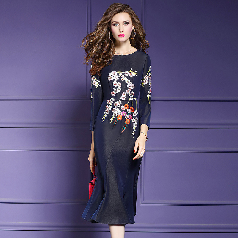 Office Lady dress Spring 2019 new High Quality Designer Women Party Embroidery Trumpet Dress Plus Size