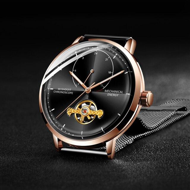 2af316e00b29 Reloj Masculino WISHDOIT reloj de los hombres de la marca de lujo de  Tourbillon relojes mecánicos