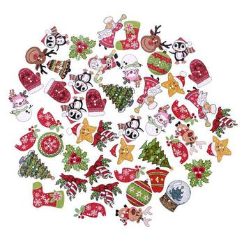 New 50Pcs Christmas Cartoon Pattern Wooden decorative Buttons For Scrapbooking Sewing Crafts Decoration Party DIY Decorations