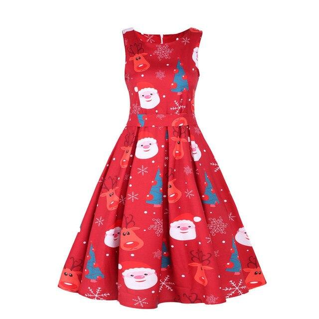 359e0013630 Feitong Plus Size Womens Dress Vintage Santa Christmas 1950s Retro Xmas  Printed Sleeveless O Neck A-Line Dress Vestidos