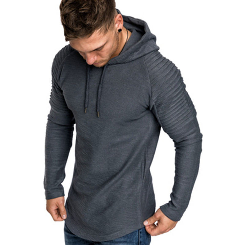 2018 New Men Solid Color Hoodies Wrinkled long sleeves Four Season Tight Outwear Breathable Sweatershirts