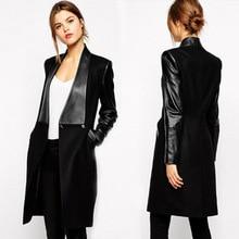 Women s PU leather stitching Slim woolen coat Girls Long Jacket Leather Jacket Women Winter Jacket