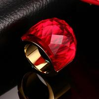 Size 6 9 Big Wide Rings For Women 3 Colors Big Glass Stone Crystal Wedding Rings