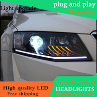 Car Styling Head Lamp for Skoda Octavia 2015 16 Headlights LED Headlight ANGEL EYES DRL Bi Xenon Lens HID Automobile Accessories