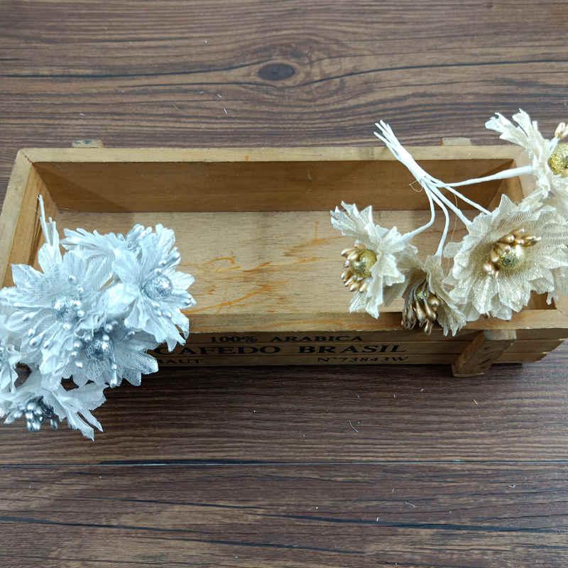 Frete Gratis Material Material Guirlanda Casamento Flor Crisantemo Prata Ouro Flor Maquiagem 6 PCS