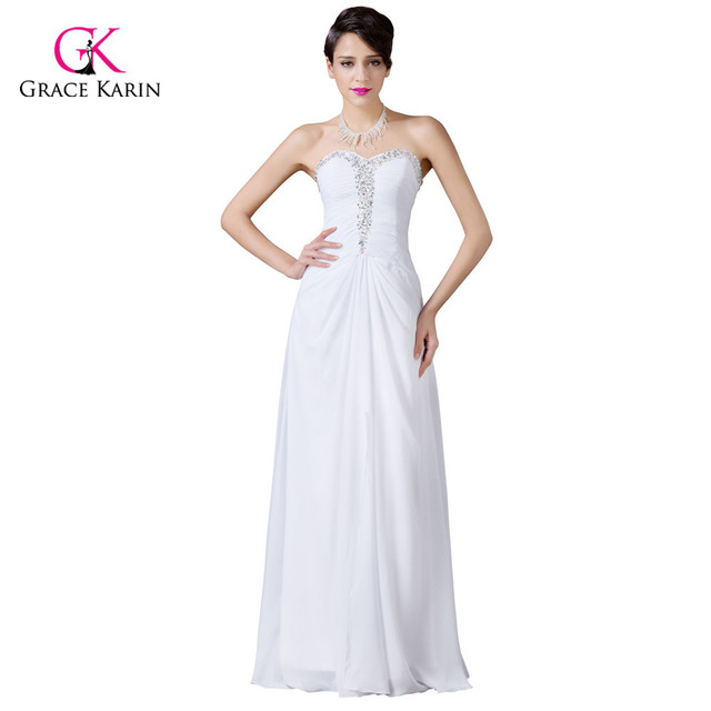 282b0710882 Grace Karin 2018 Strapless Split Chiffon White Sweetheart Prom Dresses  Beaded Sequins Long Evening Gowns Formal Party Dress 6236
