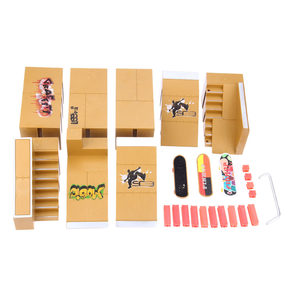 New 8pcs Skate Park Kit Ramp Parts For Children Fingerboard Excellent Gift For Extreme Sports Enthusiasts Suitable For All Ages