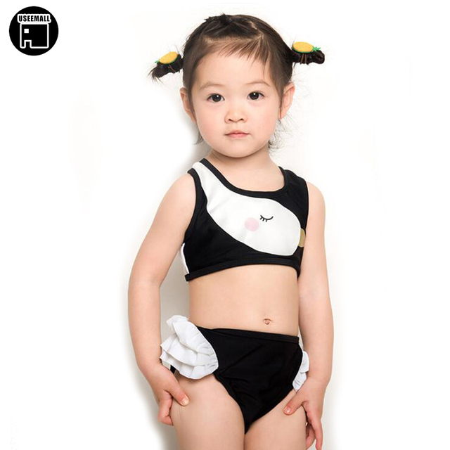 8a8153e3beea2 USEEMALL Brand 2018 Summer Girls Swimwear Cute Baby Kids Swimsuit Biquini  Infantil Swimsuits Falbala Bikini Girl for 2-9years